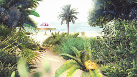 Alien resting on a tropical sea beach on a hot summer day. Fantasy about having a rest alien Animation