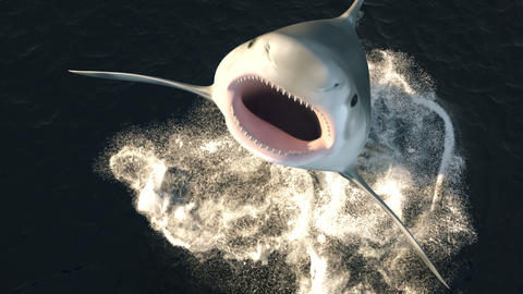 A large shark leaps out of the water with a wide open mouth full of sharp dangerous teeth. 3d Animation