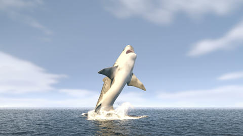 A large tiger shark leaps out of the water with a wide open mouth full of sharp dangerous teeth. 3d Animation