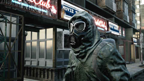 A stray man in military protective clothing and a gas mask is walking through the ruined city. The Animation