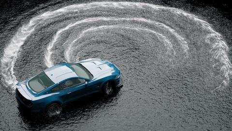 Drift sports car on water on wet asphalt. Splash and foam from rotating wheels Animation