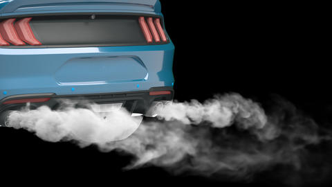 Smoke coming out of the sport car's exhaust pipe. Car Exhaust Pipe. 3D animation with an alpha Animation