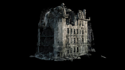 A collapsing house with a lot of dust and smoke. Ruins of the building close-up. Ruins of a Animation