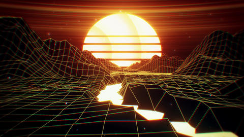 3D Retro Synthwave River Landscape VJ Loop Background CG動画