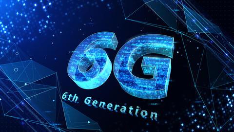 6G Digital Network technology 6th generation mobile communication concept background 530 blue 4k Animation