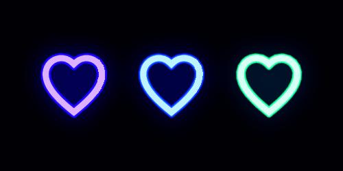 Neon icon set of Fashion heart. Glowing love ベクター