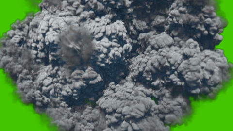 Strong thick smoke after a powerful explosion in front of green screen Animation