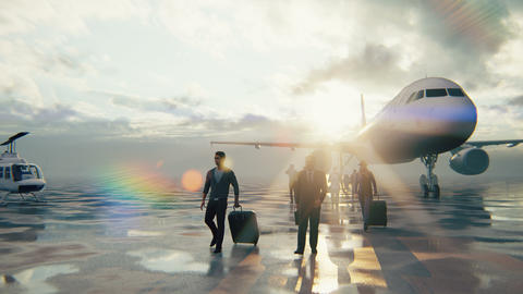 People return during a pandemic after traveling by plane. Travelers at the airport go with luggage Animation