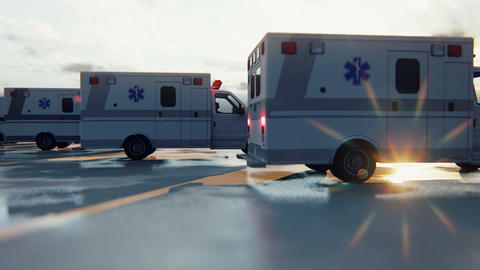 Several ambulances are waiting for a call. Concept of emergency medical services Animation