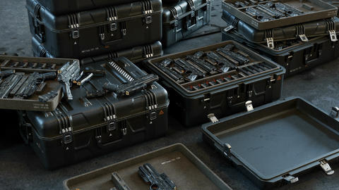 Boxes with modern weapons and ammunition in a military warehouse. Looping 3D animation Animation