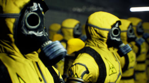 Medics in yellow protective suits lined up before the start of the working day. People in a Animation