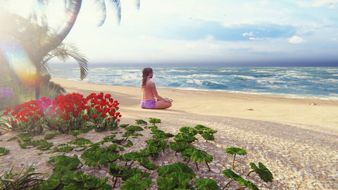 Beautiful young woman performing a spiritual yoga pose on the ocean shore at sunrise. A woman in the Animation