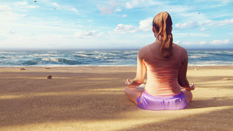 A beautiful young woman is sitting in a Lotus position on the sand. Yoga classes on the beach by the Animation