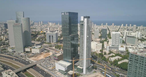Aerial view of Tel aviv skyline. Urban landscape at daytime with skyscraper view Live Action