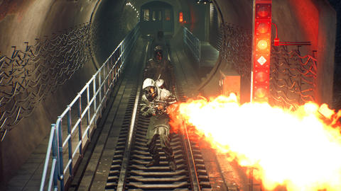 Stalkers in chemical protective clothing walk along an abandoned subway with a flamethrower during a Animation