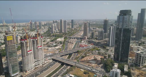 Tel Aviv highway road at daytime. Aerial drone view above Ayalon car roads with Live Action