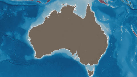 Australian Capital Territory extruded. Australia. Stereographic administrative map Animation
