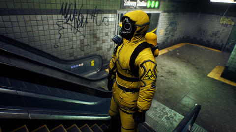 A survivor in chemical protective clothing climbs an escalator from a deserted subway. The concept Animation