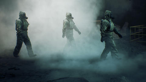 Stalkers in military protective clothing and a gas mask walk through the smoke along a deserted Animation