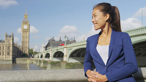 Young urban professional business woman portrait by Westminster London Live Action