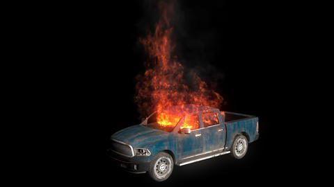 An exploded burning car is burning, the car is burning in slow motion. Looping VFX animation with an Videos animados
