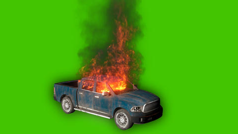 An exploded burning car is burning, the car is burning in slow motion. Looping VFX animation in Videos animados