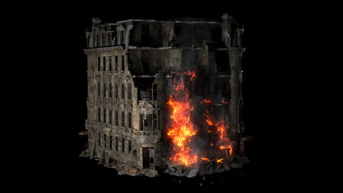 The burning collapsing building. The molten finish of the house caught fire and flows down to the Animation