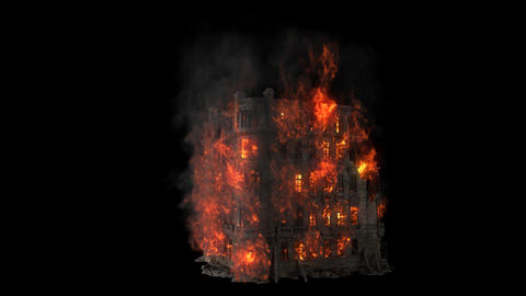 Burning building. All the floors of the old house are on fire. Looping VFX animation with an alpha Animation