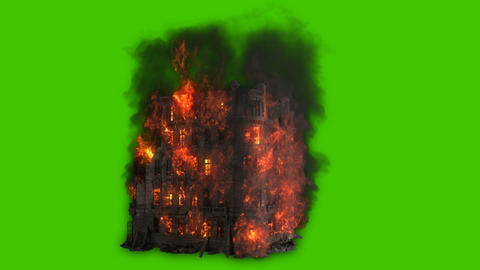 Burning building. All the floors of the old house are on fire. Looping VFX animation in front of Animation