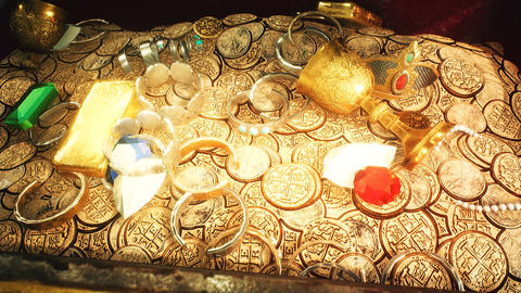 Treasures and jewels in a deserted cave. Coins, diamonds, and gold treasures. A lot of jewelry, gold Animation