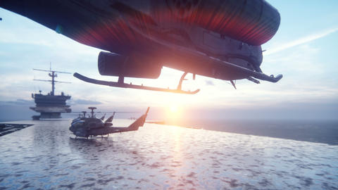 A military helicopter takes off from an aircraft carrier in the early morning Videos animados