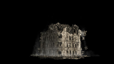 Abandoned collapsing house with a lot of dust and smoke. Close-up of the ruins of the building Videos animados