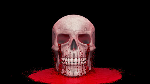 Thick red blood pours onto the human skull. Animation with an alpha channel Animation