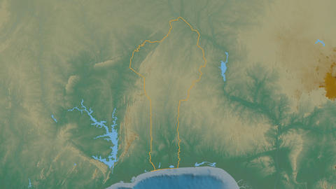 Plateau extruded. Benin. Stereographic relief map Animation