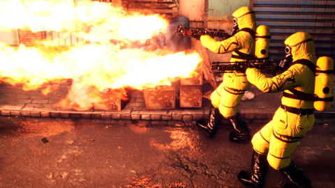 People in yellow protective suits disinfect the infected area with a flamethrower. Men in Animation
