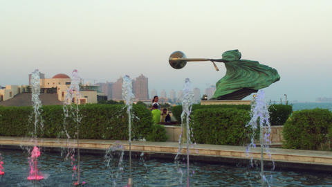 Katara cultural village,Doha Qatar showing The Force of Nature II statue Live Action