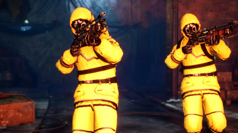 Men in yellow protective suits disinfect the city's infected territory with a flamethrower. People Videos animados