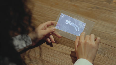 Hands hold tablet with eyeglasses Live Action