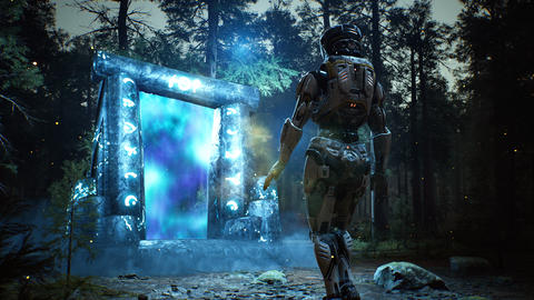A fantastic luminous ancient portal guarded with in a mystical misty dark forest Animation
