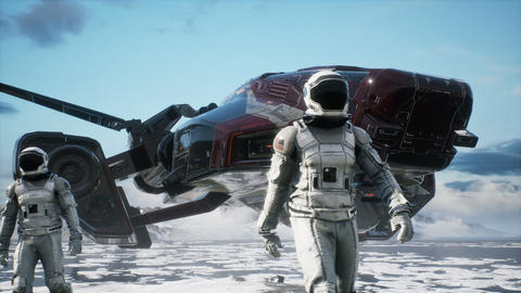 Research astronauts arrived to study a new planet covered in snow. Animation for fantasy, futuristic Videos animados