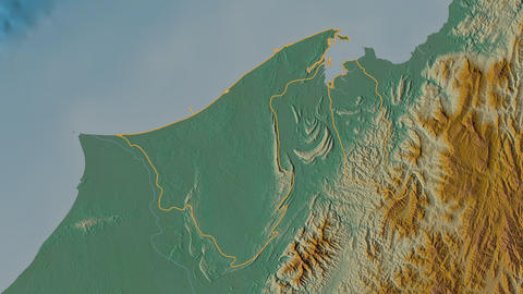 Brunei and Muara extruded. Brunei. Stereographic relief map Animation