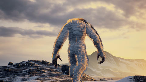 The Yeti enjoys the morning sunrise, in the beautiful snowy mountains. Yeti in the winter mountains Animation