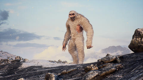 Bigfoot in the snowy mountains on a beautiful winter morning. Yeti in the mountains. Animation for Animation