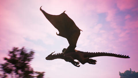 Realistic big dragon flying in the sky over the evening forest. Animation for fabulous, fiction or Animation