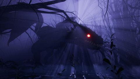 A magical big dragon stalks through an enchanted misty dark forest. Animation for fabulous, fiction Animation