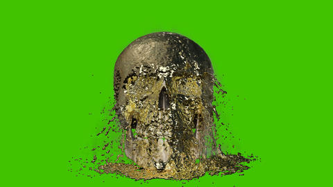 Molten hot steaming gold pours on the human skull. VFX animation in front of green screen Animation
