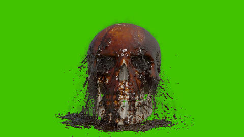 Steaming hot petroleum pours on the human skull. VFX animation in front of green screen Animation