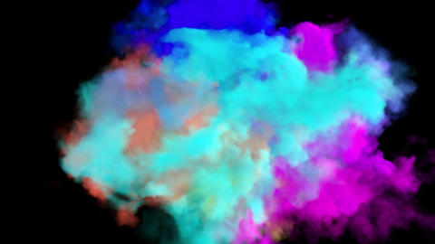 Multicolored smoke. An explosion of liquid multi-colored ink. VFX animation with an alpha channel Animation