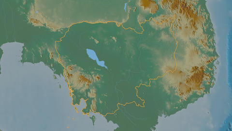 Otdar Mean Chey extruded. Cambodia. Stereographic relief map Animation