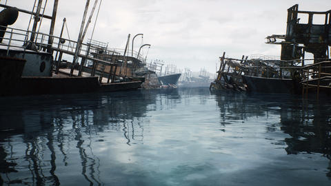 Rusty abandoned ships in the sea bay. Destroyed abandoned industrial ships Videos animados